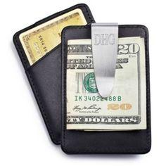 Leather Money Clip / Card Holder.  Groomsmen gift idea.