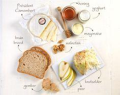 Président Camembert bruin brood peer knolselder gember walnoten 2 tl honing 1 el yoghurt 2 el mayonaise