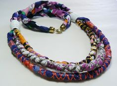Textile necklace bright fabric cords by MotuProprio on Etsy