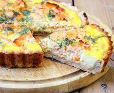 pâte brisée, saumon, saumon fumé, crevette, champignon de Paris, oeuf, brique, lait, poivre, Sel, beurre