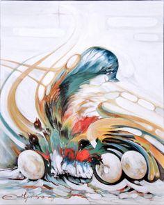 Tormentas en el Bosque. Técnica; Acrílico,sobre lienzo,temática,figura, medidas,33 x 41.( El mensaje de los pájaros, gritando en el cielo por el cambio climático).