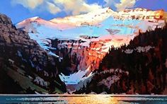 """Light and Shadow Lake Louise by Michael O'Toole Acrylic ~ 30"""" x 48"""""""