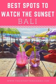 Bali is famous for its mesmerizing pink sunsets. Who doesn't want to be holding a coconut or cocktail in their hand while staring at the colorful skies? Here are the best spots where you can enjoy the sunset in Bali: 1. La Plancha – Seminyak A beach bar that has definitely figured out the most epic way to watch sunsets in Bali. Loads of huge colorful bean bags and umbrellas are placed on the sand along with small tables.