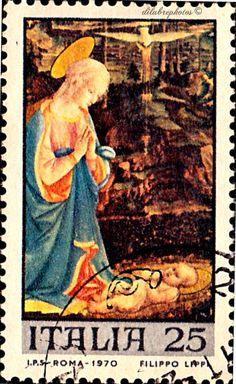 Italy.  CHRISTMAS 1970.  VIRGIN & Child by FRA FILIPPO LIPPI.  Scott  1032  A556, Issued  1970 Dec 12, Uwmk, Photo,  25. /ldb.
