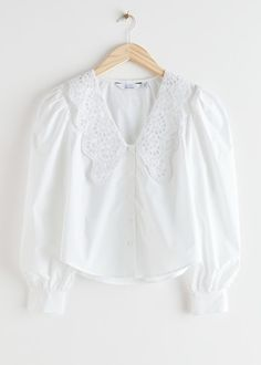 Embroidered Collar Puff Sleeve Cotton Blouse - White - Blouses - & Other Stories Cotton Blouses, White Blouses, Fashion Story, Winter Outfits, Bell Sleeve Top, Bell Sleeves, Personal Style, Ruffle Blouse, How To Wear