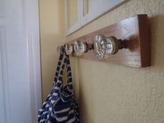 """I want to make a door knob coat rack. I love old door knobs, especially if you know a little of their history. I also love hooks and have way too many. The """"how to"""" is from turningithome.com's blog."""