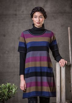 Long stripe knit cotton tunic – Tunics – GUDRUN SJÖDÉN – Webshop, mail order and boutiques | Colorful clothes and home textiles in natural materials.