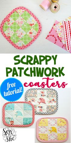 Cute and colorful, you will enjoy your lemonade with these scrappy patchwork coasters that vary in size, colors and patchwork design. This quick and easy pattern is from Charise Creates. #patchwork #patchworkcoasters #coasters #fabriccoasters #patchworkpattern #sewingpattern #easysewing #fastsewing Patchwork Tutorial, Patchwork Patterns, Patchwork Designs, Sewing Patterns, Fabric Coasters, Thoughtful Gifts, Clean House, Sewing Projects, Quilts