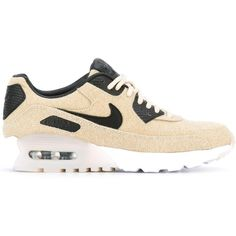 Nike 'Air Max 90 Ultra Premium' sneakers ($150) ❤ liked on Polyvore featuring shoes, sneakers, black, black shoes, leather lace up shoes, leather trainers, black leather trainers and black lace up sneakers