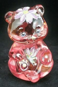 """FENTON Art Glass Pink Rose """"SITTING BEAR"""" Hand Painted by Marilyn Wagner~OOAK"""