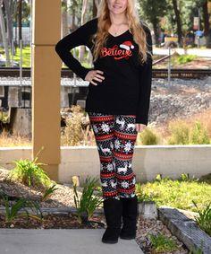 Love this Black & Red 'I Believe' Tee & Leggings - Women on #zulily! #zulilyfinds