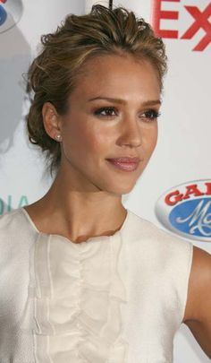 Jessica Albas chic loose low chignon hairstyle