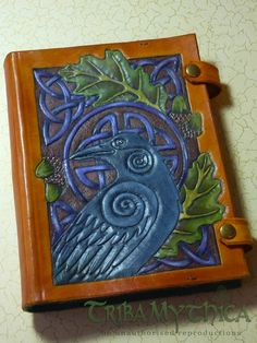 Celtic Raven - handmade leather journal cover by Triba Mythica. Faery, Fantasy, Mythical, Tribal, Celtic, LARP
