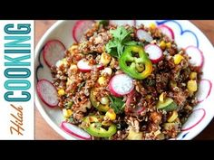 A straight delicious quinoa salad recipe with an easy vinaigrette, corn, zucchini, and nuts. Perfect summer recipe!