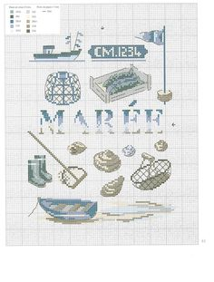 "Photo from album ""inspirations marines"" on Yandex. Cross Stitch Sea, Cross Stitch For Kids, Embroidery Patterns, Cross Stitch Patterns, Contemporary Embroidery, Minnie, Loom Beading, Nautical Theme, Needle And Thread"