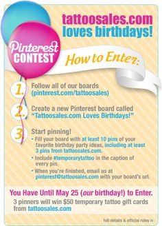 It's contest time! Enter your best birthday party ideas to win a 50 dollar gift card to tattoosales.com! #temporarytattoo