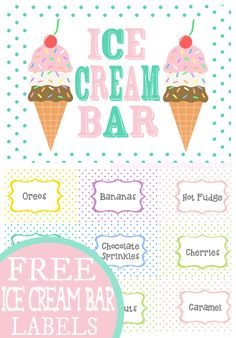 Ice Cream Sundae Bar FREE Printables