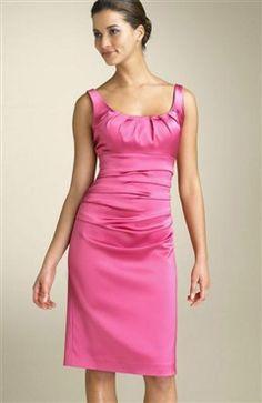 Pinks Sheath Satin Knee-length Bridesmaid Dresses