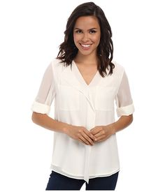 Calvin Klein Calvin Klein  Sleeve Ruffle Front Top Soft Womens Blouse for 55.99 at Im in! #sale #fashion #I'mIn