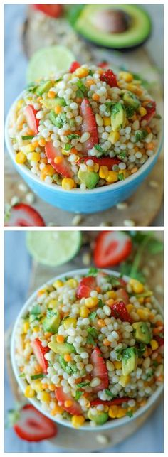 Strawberry Avocado Couscous Salad with Lime Vinaigrette - With a refreshing vinaigrette and fresh produce, this makes for a perfect salad! *Make sure to get GF Couscous I Love Food, Good Food, Yummy Food, Tasty, Vegetarian Recipes, Cooking Recipes, Healthy Recipes, Healthy Snacks, Healthy Eating