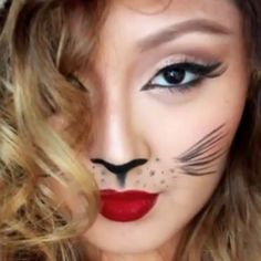 Makeup And How To Style For Girls Easy Cat Halloween Makeup Tutorial. Video Make Up Tutorial W Kiki Hilarious Cantholdwater. Cat Halloween Makeup, Cat Makeup, Spooky Halloween, Makeup Tips, Makeup Ideas, Lion Makeup, Halloween Costumes, Mummy Makeup, Leopard Halloween