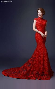 Embellished Trumpet Chinese Wedding Gown Lace Bridal Qipao                                                                                                                                                                                 More