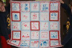 quilt/boxkleed voor de zwangere juf op school met tekeningen van de kinderen.