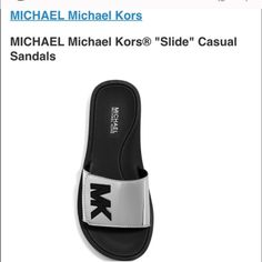 """Mk shoes sandal These metallic slide sandals from MICHAEL Michael Kors are as sporty-chic as they get. Pair them with joggers, jeans (and even dresses) for an effortlessly glam touch.  Featured in silver Low heel Open rounded toe Open back Metallic vamp band strap with grip-tape closure Large 3D """"MK"""" applique on top Synthetic upper Michael Kors Shoes Sandals"""
