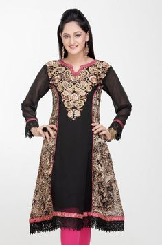 #Black and Light #Brown Faux #Georgette Readymade #Tunic @ $63.45