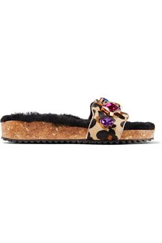 Sophia Webster - Lyla Embellished Leopard-print Calf Hair And Shearling Slides - Leopard print - IT40.5