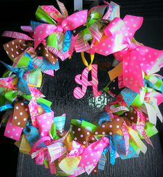 Baby shower wreath * Baby Ribbon Wreath * Hospital Door Wreath * Girl Wreath * Made it for my niece's baby shower. Supply cost approx $35.