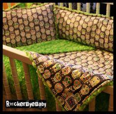 CUSTOM 3 piece punk baby Crib Bedding Set You by RockerByeBaby, $200.00