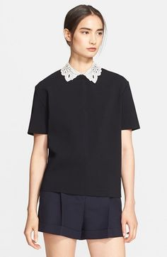 Valentino Leather Collar Top available at #Nordstrom