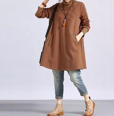 """【Fabric】 cotton 【Color】 Black, khaki 【Size】 Shoulder 39cm / 15.2 """"  Bust 114cm / 44 """"  Sleeve 56 cm / 22 """" Waist 144 cm / 56 """" Length 82cm / 32 """" Hem 180cm / 70 """"   Have ... #loose #fashion #malieb"""