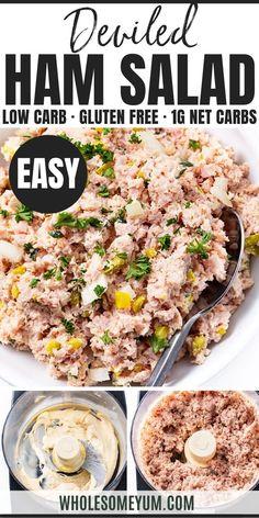 Deviled Ham Salad Recipe, Salad Recipes Low Carb, Salad Recipes For Dinner, Ham Recipes, Salmon Recipes, Appetizer Recipes, Cooking Recipes, Healthy Recipes, Free Recipes