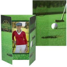 """Organizing a golf tournament or event? Be prepared to capture that memorable moment with a unique golf-themed photo holder. This vivid folder features a close-up of a putting green on the front and a 4"""" x 6"""" opening for your picture on the inside.  Often called cardboard photo folders, our photo event folders are made from a smooth lightweight cardstock paper. Each folder is printed in vivid four-color process, and can be personalized with custom imprinting."""