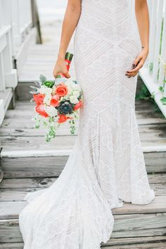 Coral Teal and Royal Blue Bohemian Beachside Wedding - http://fabyoubliss.com/2015/01/15/coral-teal-and-royal-blue-bohemian-beachside-wedding