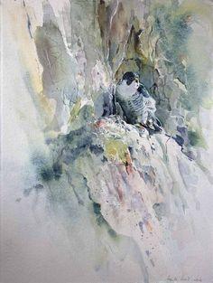 Wohnung mit Ausblick (c) ein Aquarell mit einem Wanderfalken von Hanka Koebsch Baltic Sea, Painting & Drawing, Birds, Abstract, Drawings, Bird Paintings, Flowers, Watercolors, Houses