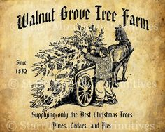 Primitive Vintage Christmas Tree Farm Jpeg Bild von Starrmtnprims, $3.00