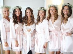 Our beautiful homebodii bride and her lovely Maids! #lace #flowercrowns #bridal #robes #bridalwear