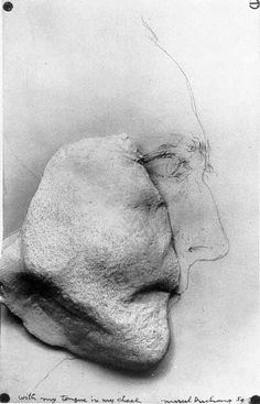 """With My Tongue in My Cheek (1959)"" Marcel Duchamp. On a sheet of paper Duchamp sketches his profile (graphic icon) area of chin and cheek cast from his own face in plaster. Comments on loss of capacity to speak. ..."