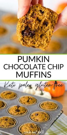 Pumpkin chocolate chip muffins - an easy healthy pumpkin recipe with chocolate chips and a hint of cinnamon. Keto, paleo, gluten-free, grain-free and dairy-free. via @cookeatpaleo