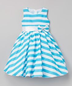 Turquoise Stripe Bow Belted A-Line Dress - Infant, Toddler & Girls