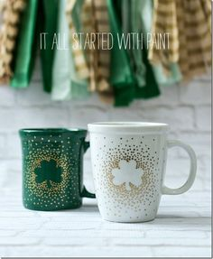 """Irish Coffee Mugs: """"This was a really simple DIY. I started with some shamrock stickers and an oil-based gold paint pen I found at the craft store."""""""