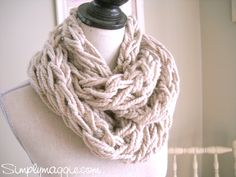 """""""Arm Knitted"""" Chunky Scarf - Easy & quick (not to mention cool) technique for all ages! It's not crochet or knitting, but it's a definite must try!"""