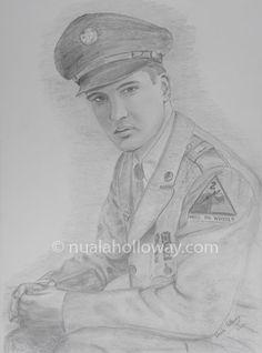 """Elvis in the Army (II)"" by Nuala Holloway - Pencil on Paper (Commission)  As featured in the music biography ""Elvis and Ireland"" by Ivor Casey -  Available to buy now on Amazon #Elvis #ElvisandIreland #IrishArtist"