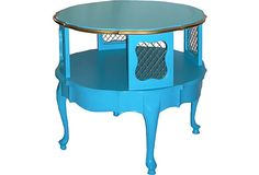 Round Blue French Side Table on OneKingsLane.com--perhaps for a bedside table in my mermaid room?