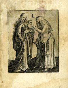 The Virgin with Child and St Anna; Anna at right offers a piece of fruit to Christ who leans forward to the right to accept it Engraving
