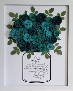 Mother'S day present for mother in law🤔 crafts to sell, diy crafts for kids Paper Flowers Craft, Flower Crafts, Diy Flowers, Paper Crafts, Flower Shadow Box, Diy Shadow Box, Shadow Box Frames, Quilling Designs, Cricut Creations