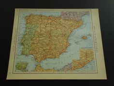 """Old vintage map of Spain and Portugal - 1950 Dutch retro poster - oude kaart van Spanje en Portugal - Spanien 26x33c 10x13"""" by DecorativePrints on Etsy"""